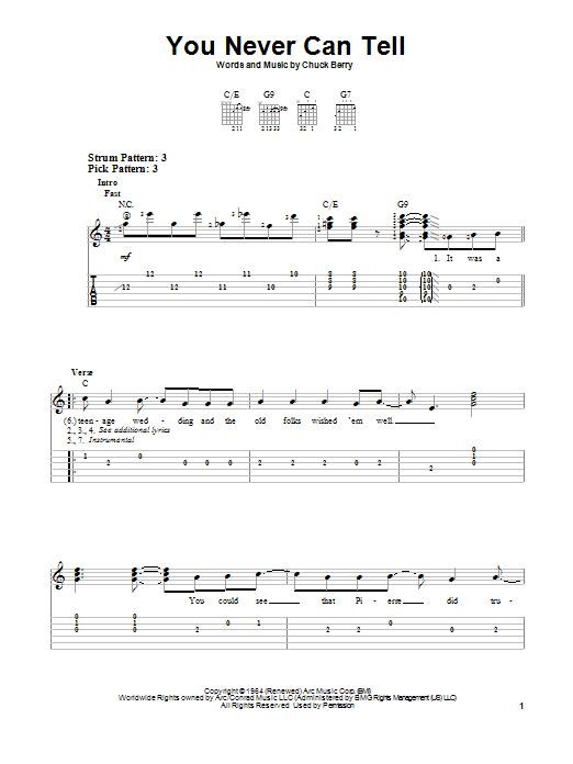Tablature guitare You Never Can Tell de Chuck Berry - Tablature guitare facile