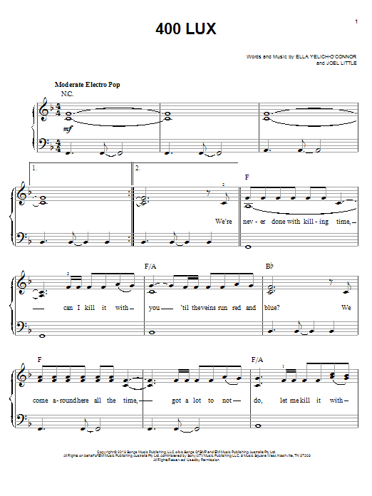 Partition piano 400 Lux de Lorde - Piano Facile