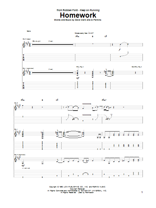 Tablature guitare Homework de Robben Ford - Tablature Guitare