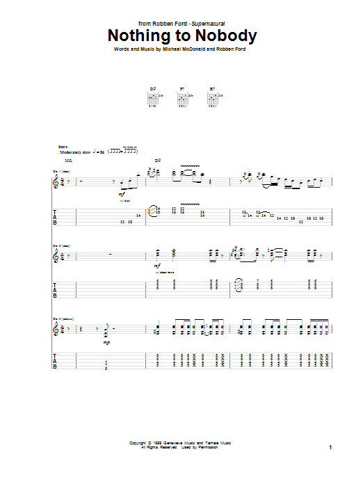 Tablature guitare Nothing To Nobody de Robben Ford - Tablature Guitare