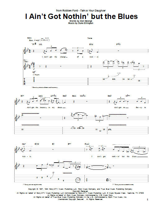 Tablature guitare I Ain't Got Nothin' But The Blues de Robben Ford - Tablature Guitare