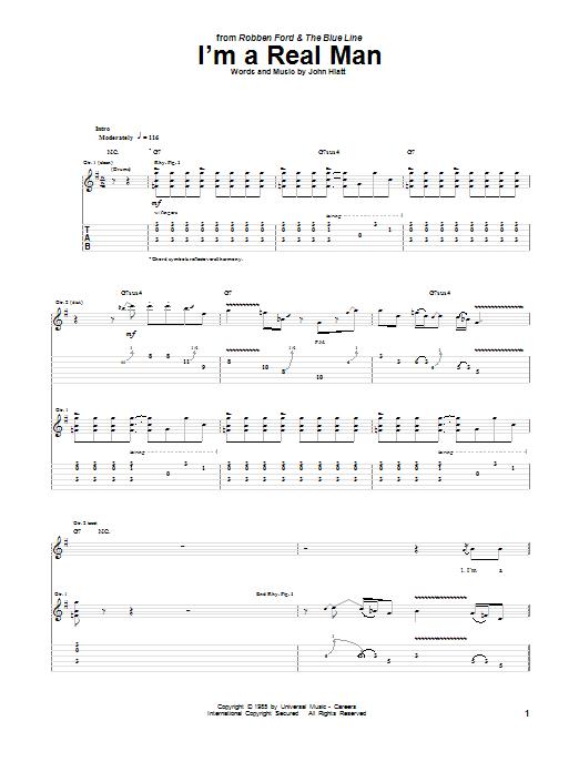 Tablature guitare I'm A Real Man de Robben Ford - Tablature Guitare