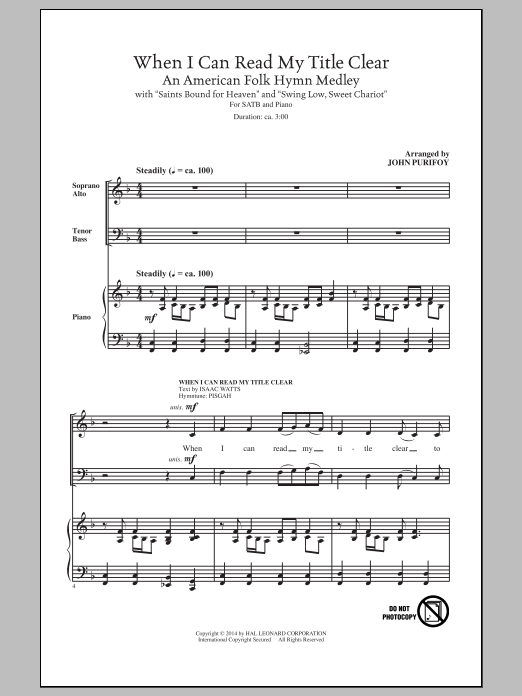 Partition chorale When I Can Read My Title Clear de Traditional - SATB