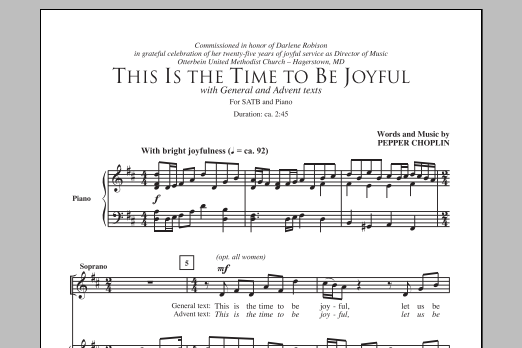 Partition chorale This Is The Time To Be Joyful de Pepper Choplin - SATB