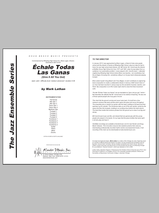 Echale Todas Las Ganas (Give It All You Got) (COMPLETE) sheet music for jazz band by Mark Lathan