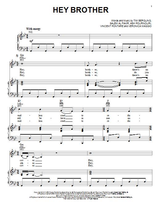 Partition piano Hey Brother de Avicii - Piano Voix Guitare (Mélodie Main Droite)