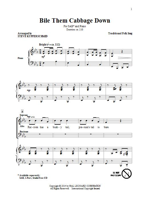 Partition chorale Boil Them Cabbage Down (arr. Steven Kupferschmid) de  - SAB
