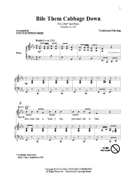 Partition chorale Boil Them Cabbage Down (arr. Steven Kupferschmid) de Steven Kupferschmid - 2 voix