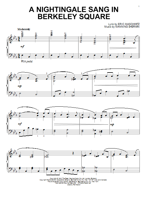 Partition piano A Nightingale Sang In Berkeley Square de Manhattan Transfer - Piano Solo