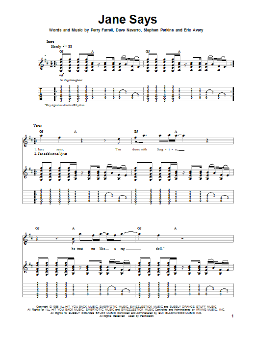 Tablature guitare Jane Says de Jane's Addiction - Tablature Guitare
