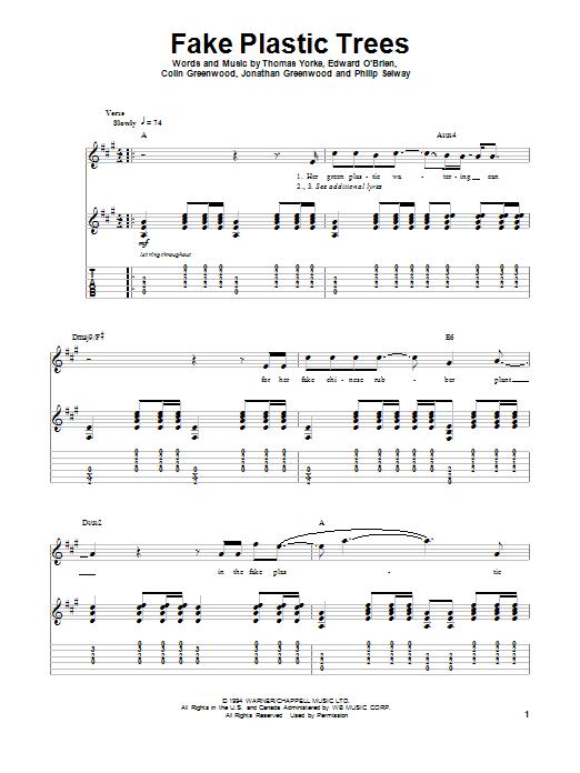 Tablature guitare Fake Plastic Trees de Radiohead - Tablature Guitare