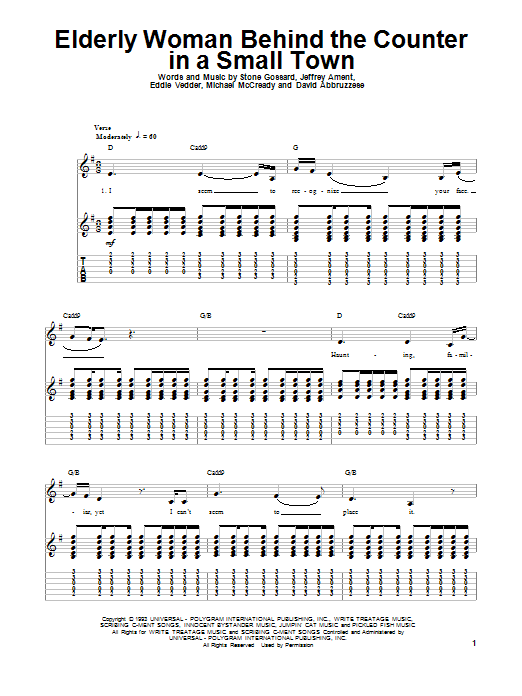 Tablature guitare Elderly Woman Behind The Counter In A Small Town de Pearl Jam - Tablature Guitare