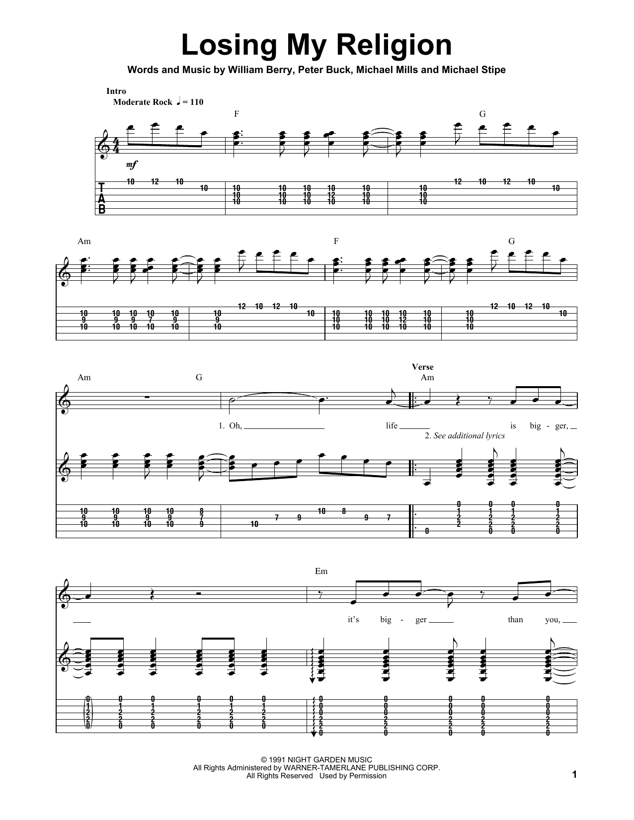 Losing My Religion : Sheet Music Direct