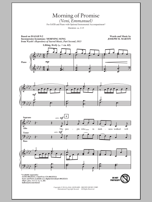 Partition chorale Morning Of Promise (Veni, Emmanuel) de Joseph Martin - SATB