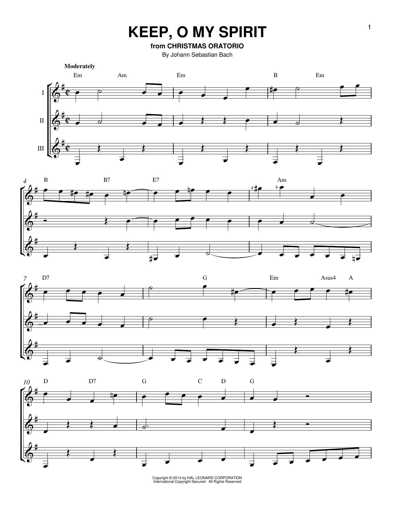 Partition autre Keep, O My Spirit de Johann Sebastian Bach - Autre