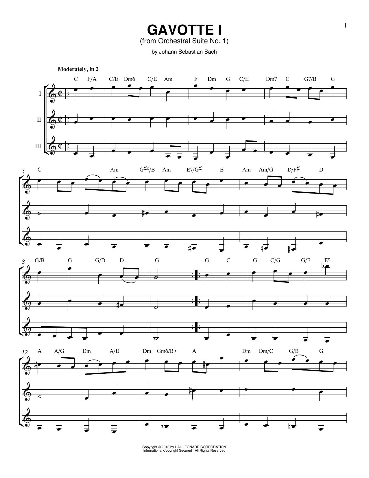Partition autre Gavotte 1 de J.S. Bach - Autre