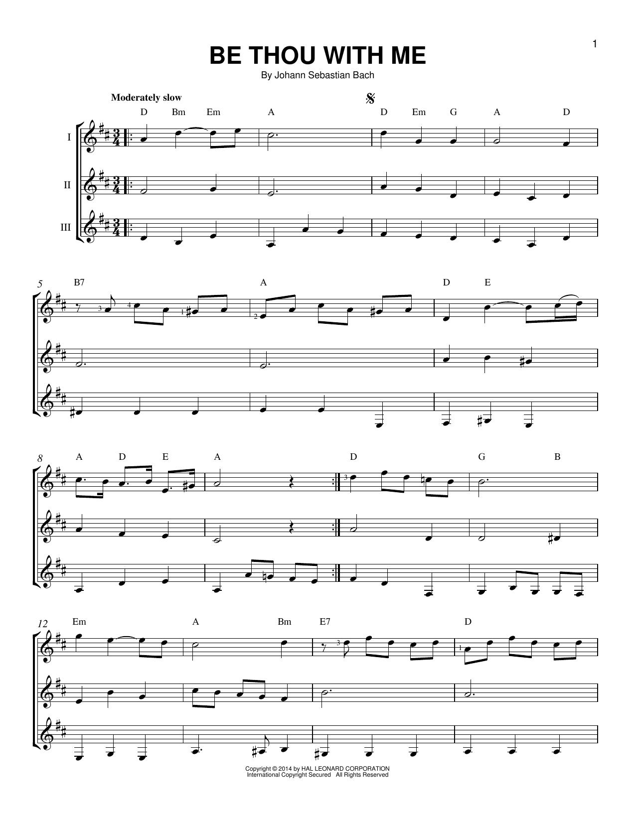 Partition autre Be Thou With Me de Johann Sebastian Bach - Autre