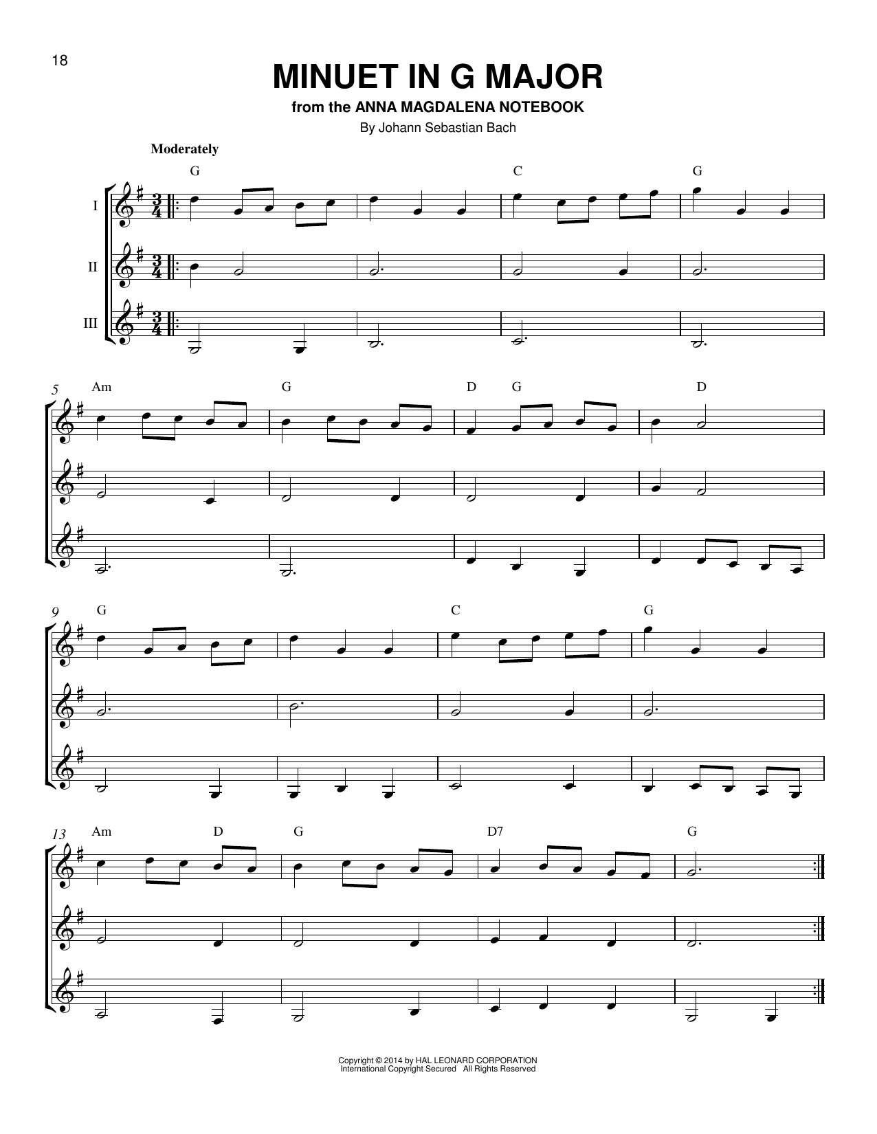 Partition autre Minuet In G de Johann Sebastian Bach - Autre