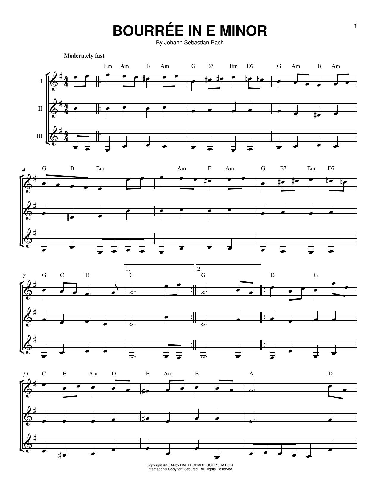 Partition autre Bourree In E Minor de Johann Sebastian Bach - Autre