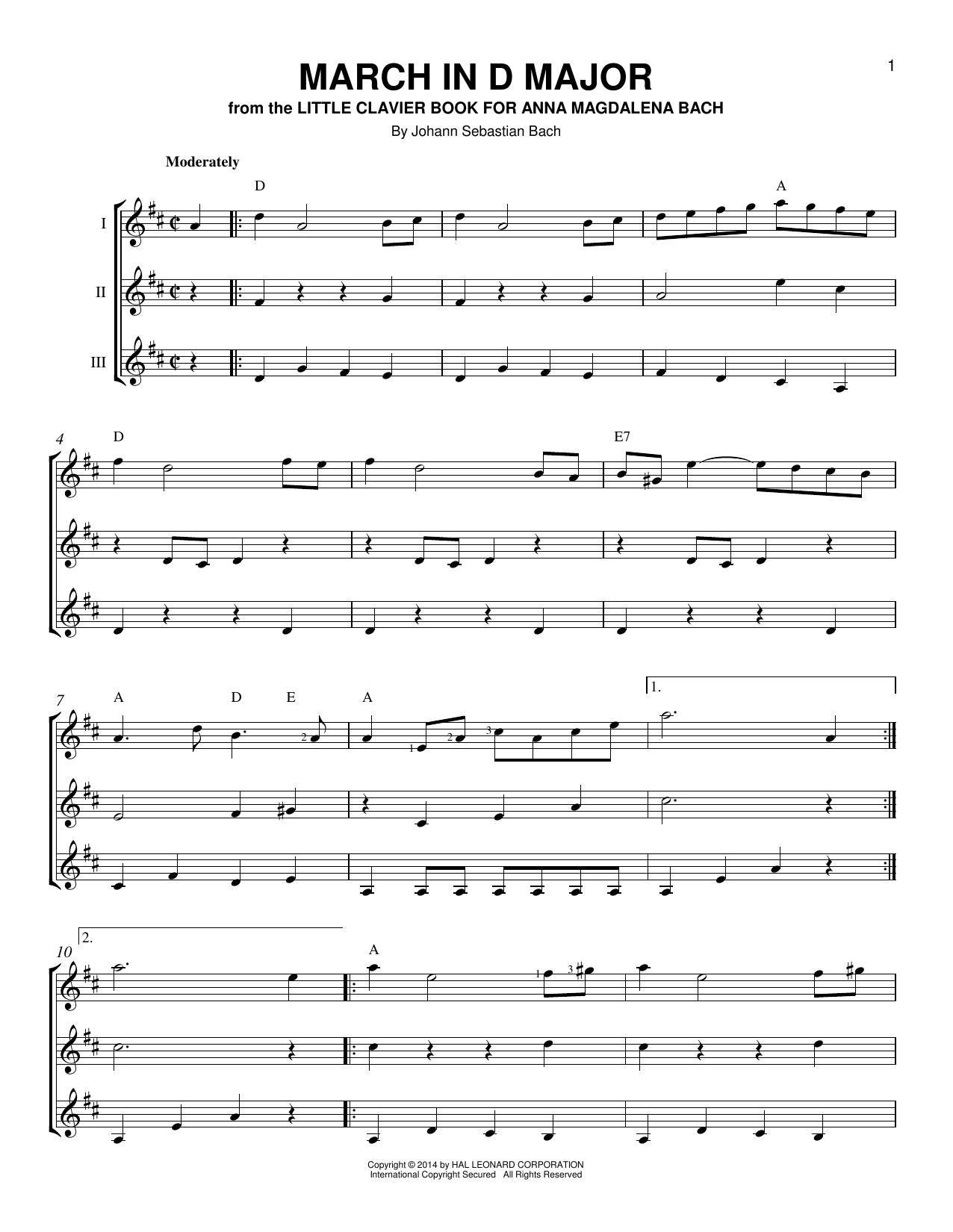 Partition autre March In D Major de Johann Sebastian Bach - Autre