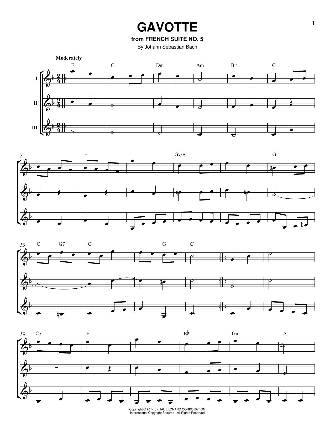 Partition autre Gavotte de Johann Sebastian Bach - Autre