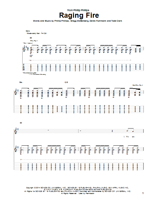 Tablature guitare Raging Fire de Phillip Phillips - Tablature Guitare