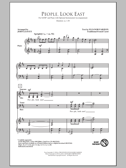 Partition chorale People, Look East (arr. John Leavitt) de  - SATB