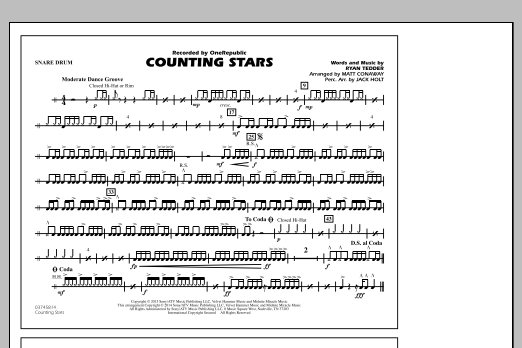Drum drum chords for counting stars : Counting Stars - Snare Drum - Sheet Music at Stanton's Sheet Music