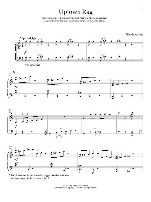 Partition piano Uptown Rag de Glenda Austin - Piano Facile