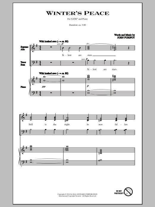 Partition chorale Winter's Peace de John Purifoy - SATB