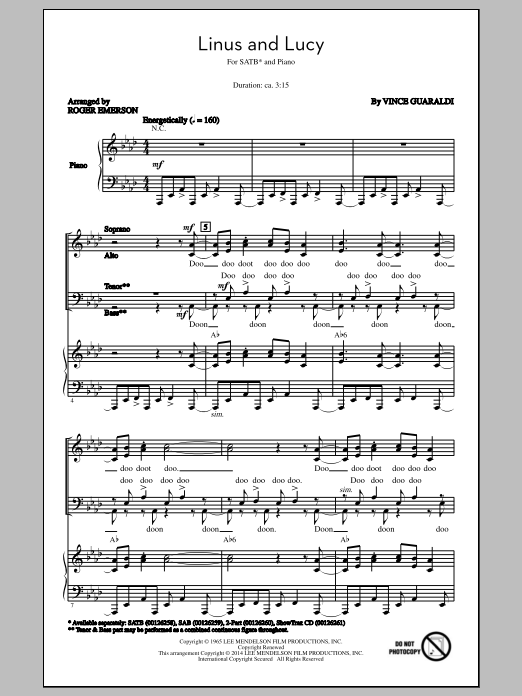 Partition chorale Linus And Lucy (arr. Roger Emerson) de Vince Guaraldi - SATB