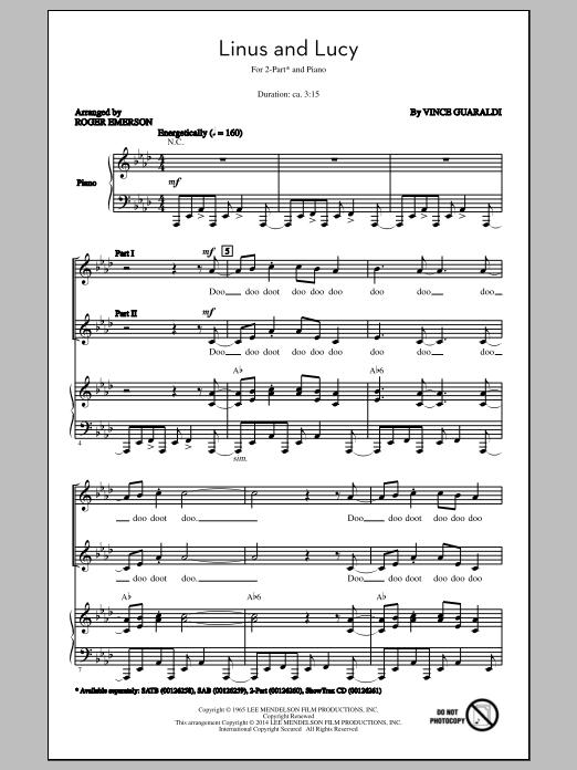 Partition chorale Linus And Lucy (arr. Roger Emerson) de Vince Guaraldi - 2 voix