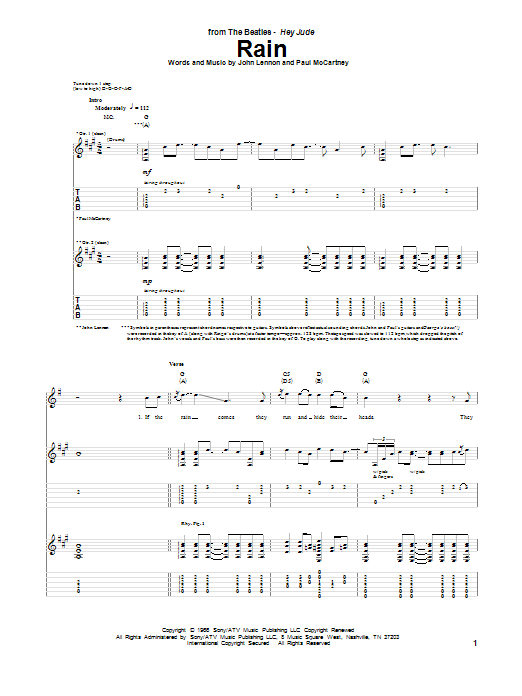 Tablature guitare Rain de The Beatles - Tablature Guitare