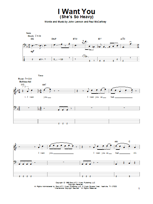 Tablature guitare I Want You (She's So Heavy) de The Beatles - Tablature Basse