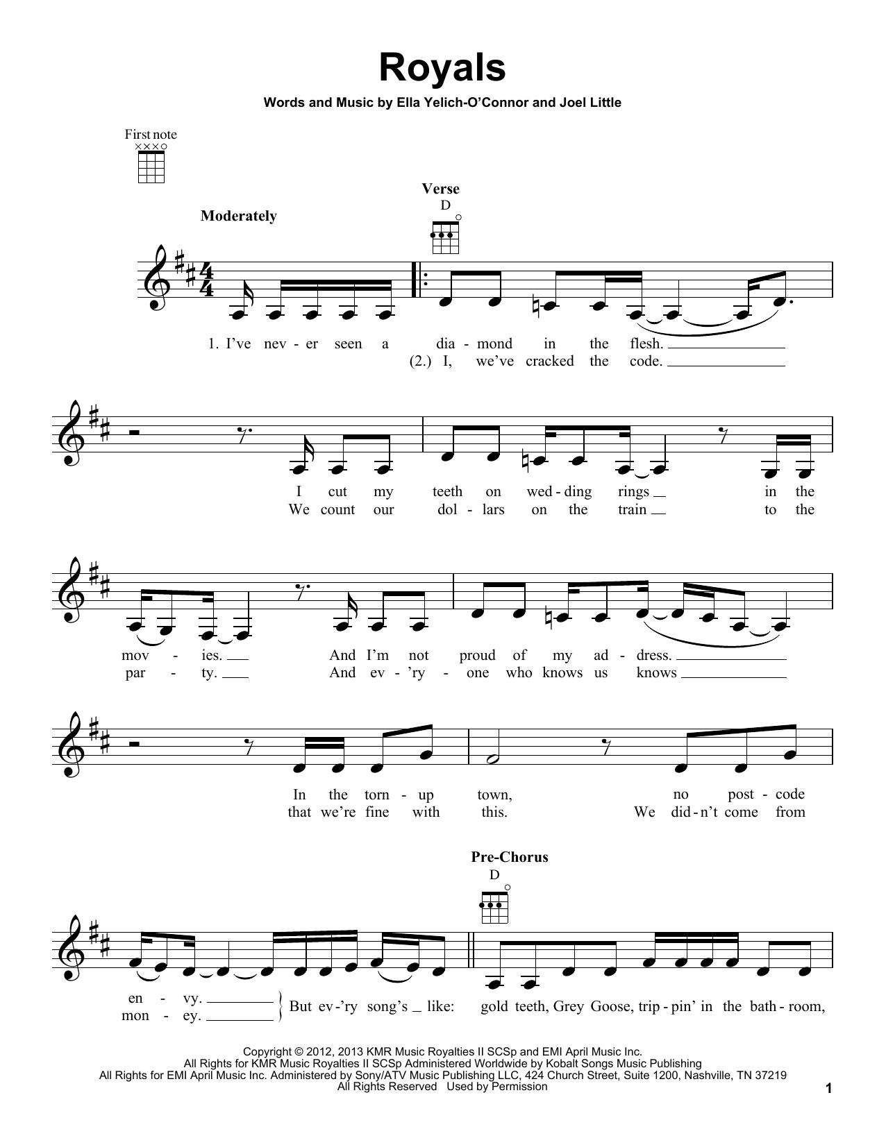 Tablature guitare Royals de Lorde - Ukulele