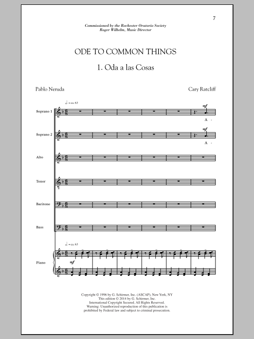 Partition chorale Ode To Common Things de  - SATB