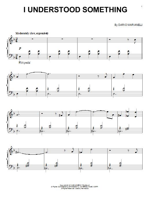 Partition piano I Understood Something de Dario Marianelli - Piano Solo