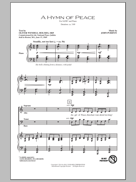 Partition chorale A Hymn Of Peace de John Purifoy - SATB