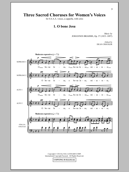 Partition chorale Three Sacred Choruses For Women's Voices (arr. Dean Crocker) de  - SSA