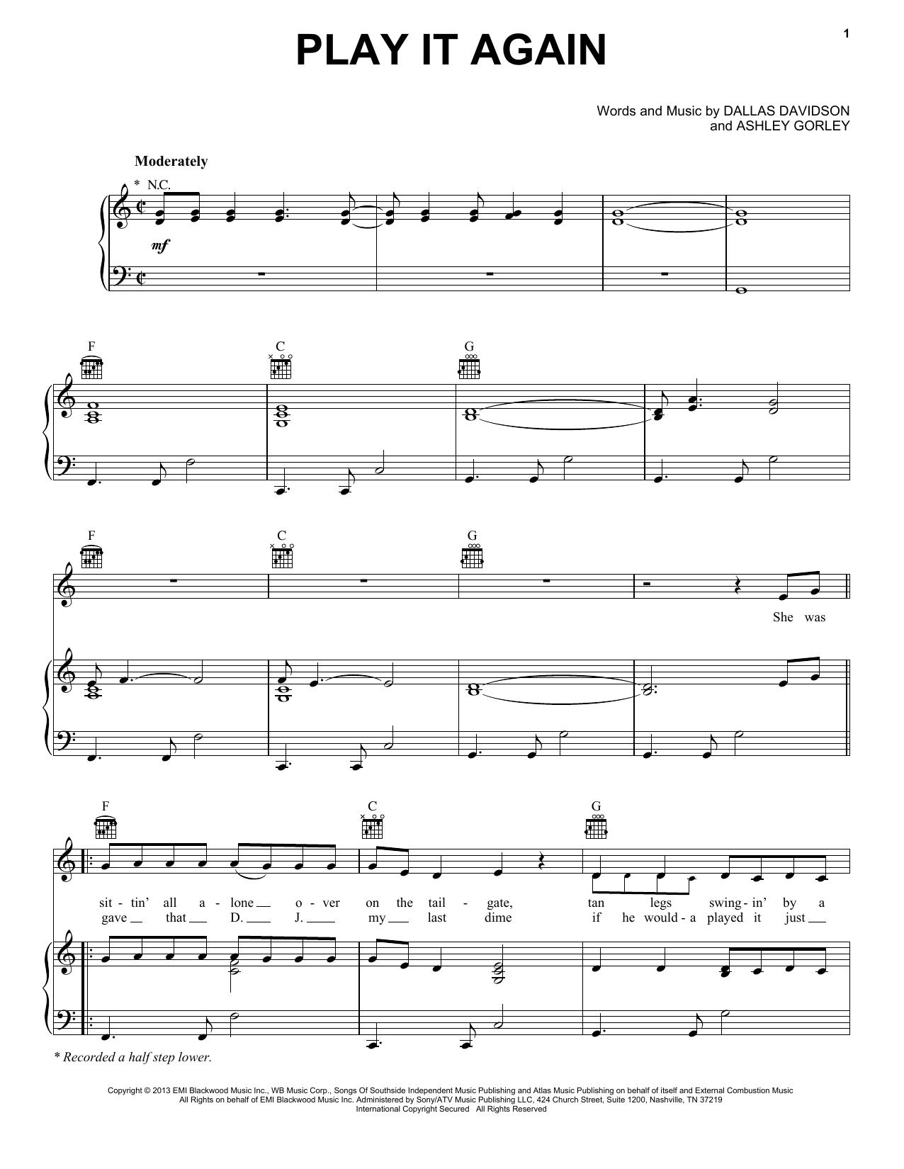 Partition piano Play It Again de Luke Bryan - Piano Voix Guitare (Mélodie Main Droite)