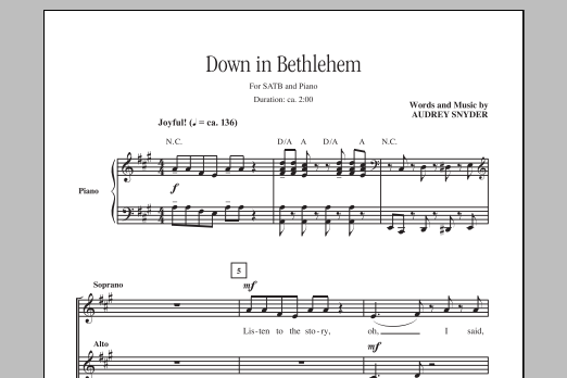 Partition chorale Down In Bethlehem de Audrey Snyder - SATB