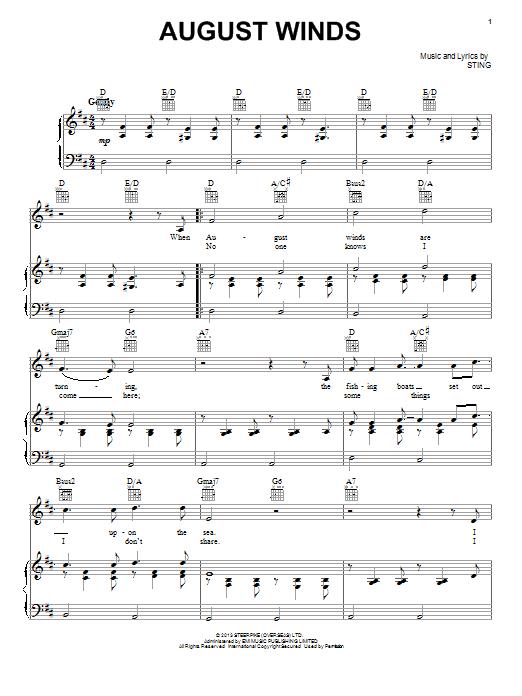 Partition piano August Winds de Sting - Piano Voix Guitare (Mélodie Main Droite)