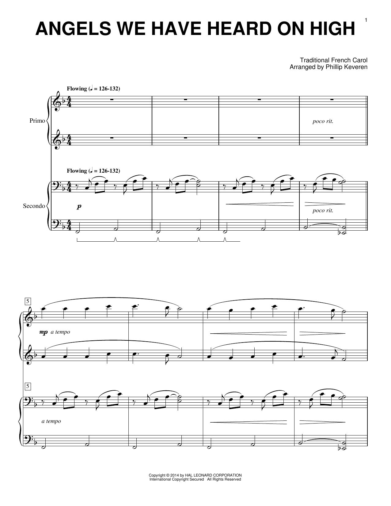 Partition piano Angels We Have Heard On High de Phillip Keveren - 4 mains