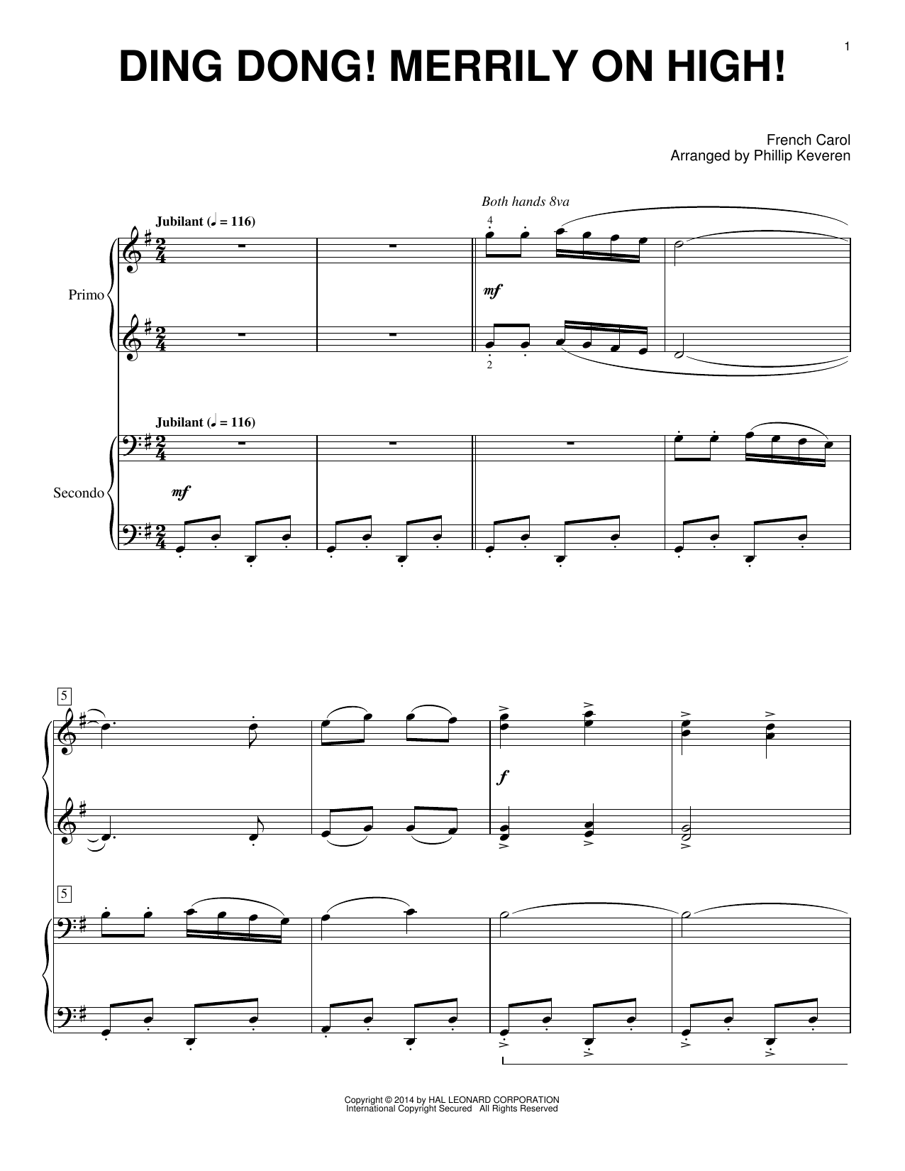 Partition piano Ding Dong! Merrily On High! de Phillip Keveren - 4 mains