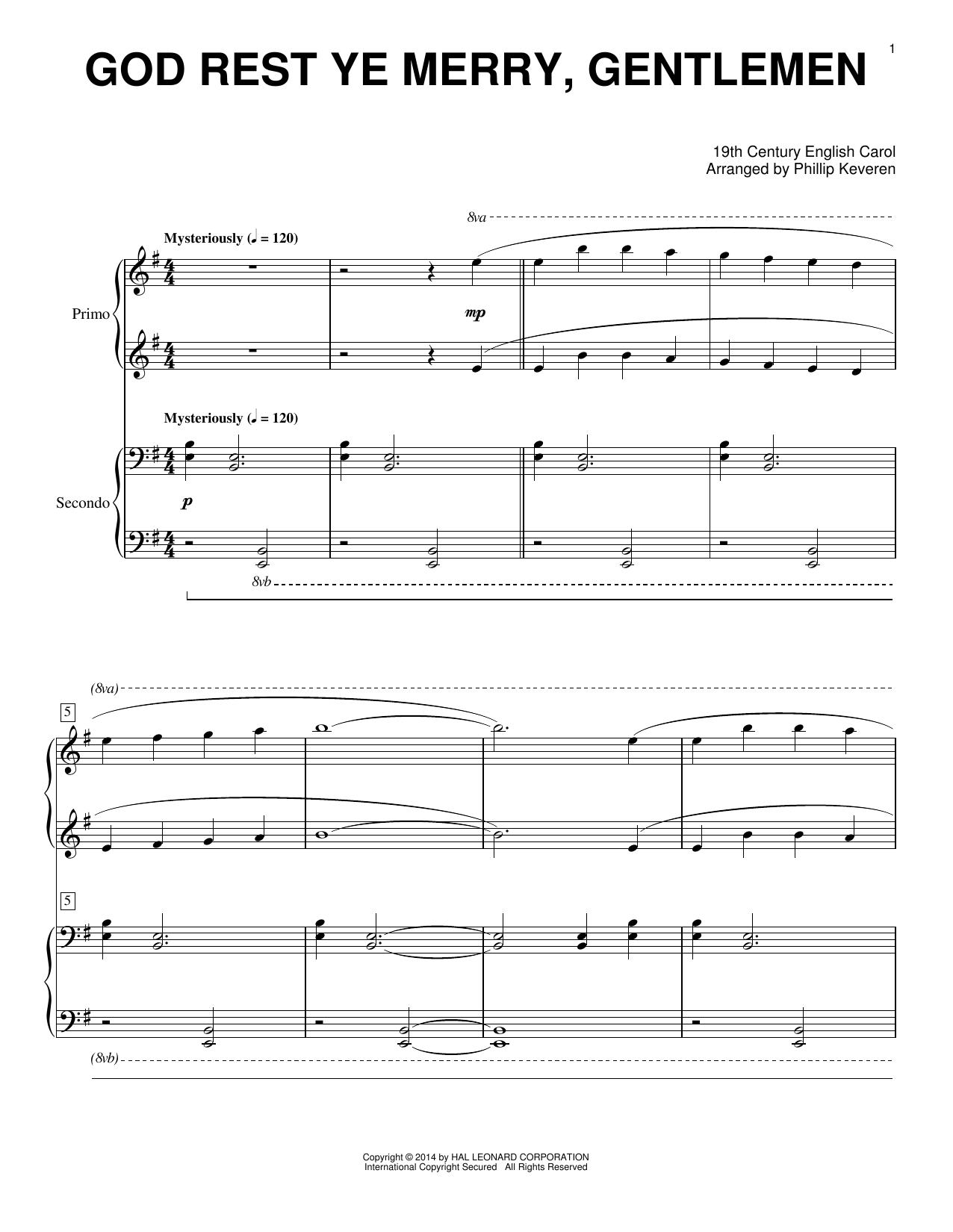 Partition piano God Rest Ye Merry, Gentlemen de Phillip Keveren - 4 mains