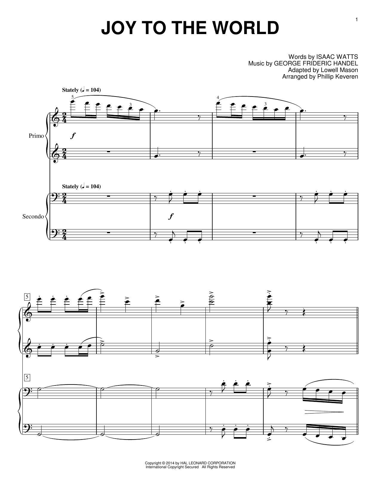 Partition piano Joy To The World de Phillip Keveren - 4 mains