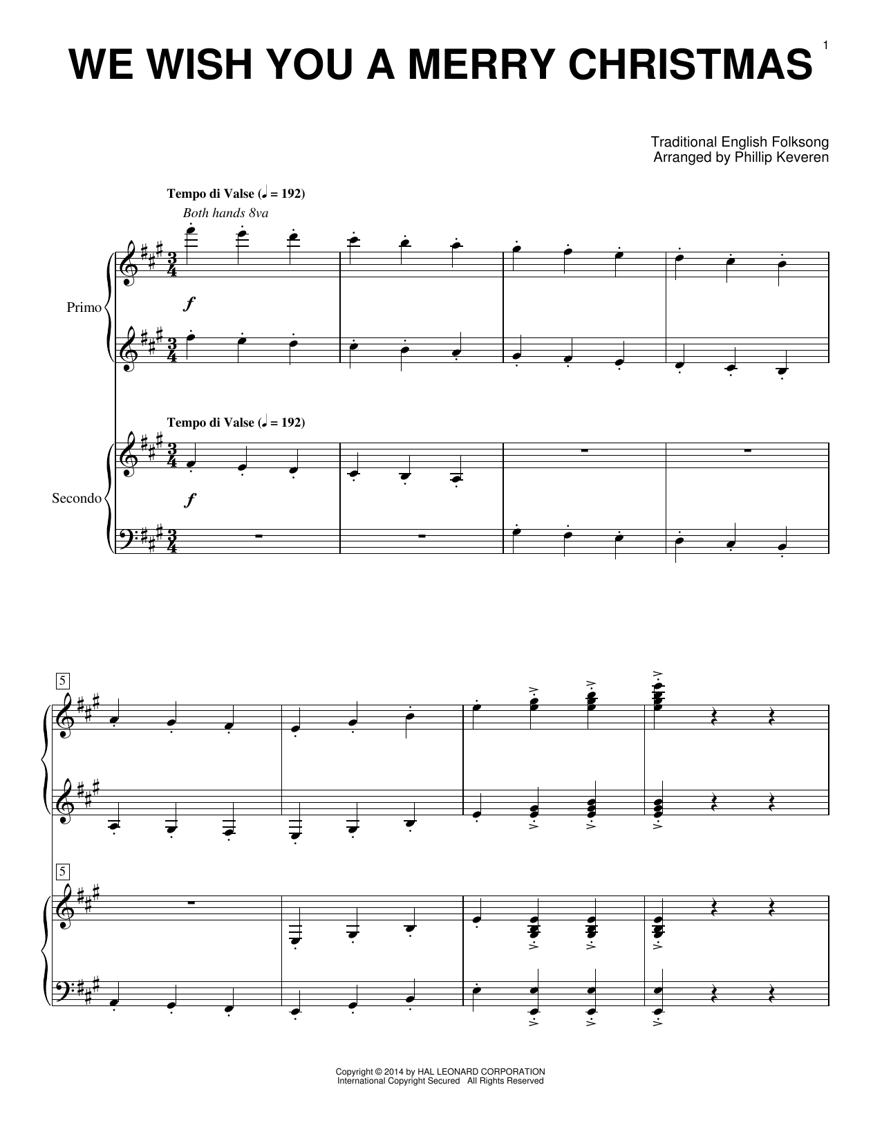 Partition piano We Wish You A Merry Christmas de Phillip Keveren - 4 mains