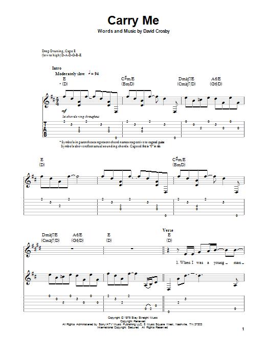 Tablature guitare Carry Me de Crosby, Stills & Nash - Tablature Guitare