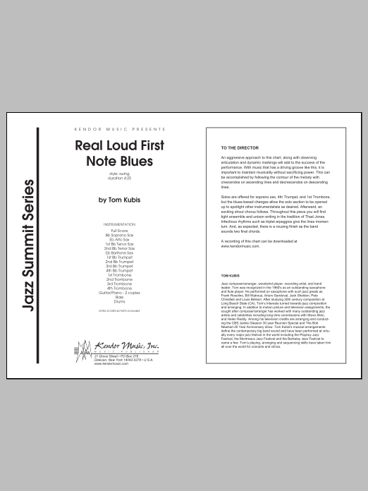 Real Loud First Note Blues (COMPLETE) sheet music for jazz band by Tom Kubis