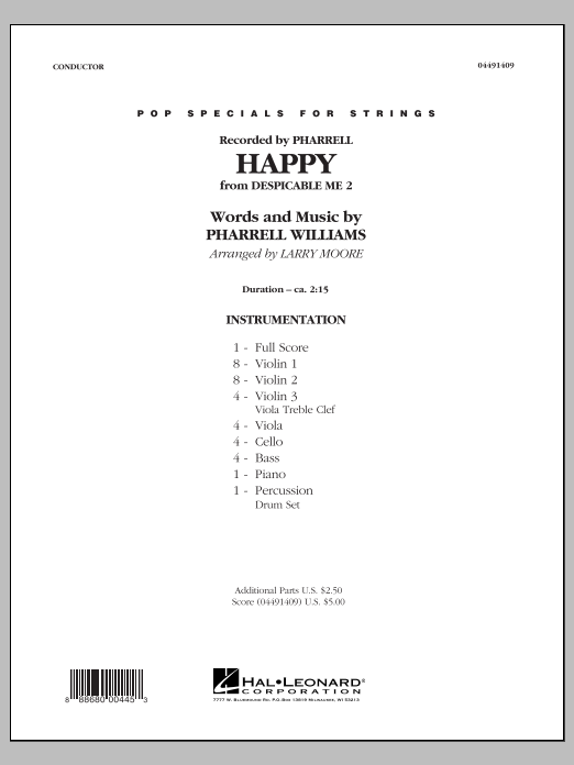Happy (from Despicable Me 2) (COMPLETE) sheet music for orchestra by Larry Moore
